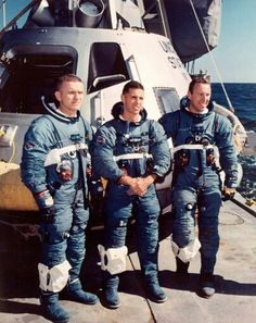 Apollo 8 crew in blue space suit
