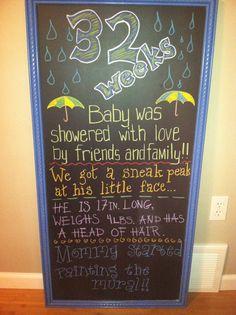 32 week pregnancy chalkboard