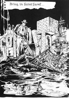 "Eisner's The Spirit - splash page to ""Bring in Sand Saref"""