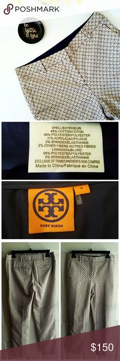 """Tory Burch Crop Isabella Trousers Gently worn. Color Tory Navy with a touch of allover silver shimmer. Scaly design embellished woven cotton blend. Slant front pockets, fitted, straight legs, zip fly & hook/bar closure.   Measurements  Size 4  Waist 27""""  Hip 37""""  Inseam Length 27""""  Length 37"""" Tory Burch Pants Ankle & Cropped"""