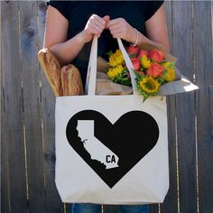 California State Tote Bag  Market Bag  by TangerineStitches