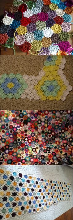 "Yo-yo pattern, free from Priscilla Hewitt.  Each yo-yo is only 2 rounds of DC, about 2"" across -  perfect for using up scraps.  So many different looks depending on color choices, with three different joining methods given.  If an afghan is too tedious, these make a cute scarf, trivet, or potholder.   (Pics from Ravelry Project Gallery: http://www.ravelry.com/patterns/library/yo-yo-scrap-afghans )"
