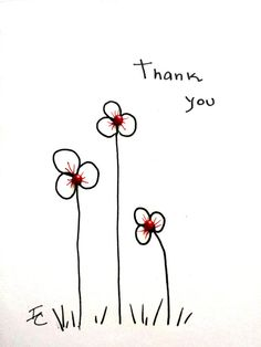 Lovely Floral Hand Drawn Thank you Card. by AbuelaCohens on Etsy