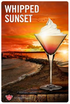 Nothing says summer more than 'Whipped Sunset.' Recipe: 1.5 fl oz SMIRNOFF® WHIPPED CREAM Flavored Vodka, 3 fl oz Sour Mix, 2 fl oz Pineapple Juice, 0.5 fl oz grenadine. Mix all ingredients, except for grenadine, in a cocktail shaker with ice and serve in a martini glass. Top with grenadine. Garnish with whipped cream.