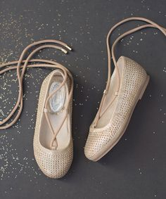 Joyfolie Gold Kira Lace-Up Flat |