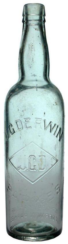 J. G. Derwin, Parkes. (J.G.D in a Diamond trade mark). c1910s-1920s Cordial bottle.