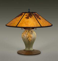 AUTUMN OAK Ephraim Pottery Lamp, William Morris Studio, Mission Lighting