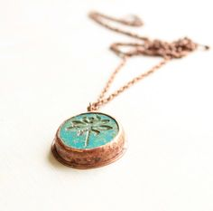 Dragonfly necklace rustic copper necklace by agatechristina