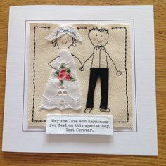 Customised unique bride and groom wedding card. Mr and Mrs textile card for wedding. I can print names and date at the top of the card Wedding Embroidery, Embroidery Cards, Free Motion Embroidery, Embroidery Patterns, Hand Embroidery, Wedding Cards Handmade, Diy Wedding Gifts, Handmade Birthday Cards, Greeting Cards Handmade