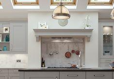 Burleigh painted light grey kitchen mantle shelf from Riley James Kitchens Gloucestershire Grey Shaker Kitchen, Small Farmhouse Kitchen, Blue Kitchen Cabinets, Shaker Style Kitchens, Country Kitchen, Home Kitchens, Kitchen Island, Kitchen Mantle, Home Decor Kitchen