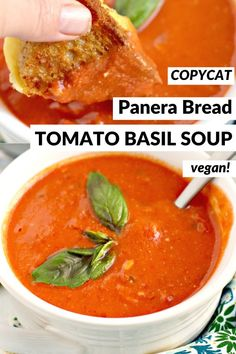 Vegan Tomato Soup, Creamy Tomato Basil Soup, Tomato Soup Recipes, Vegan Soups, Easy Soup Recipes, Vegetarian Recipes, Cooking Recipes, Slow Cooker Vegan Soup, Slow Cooker Tomato Soup