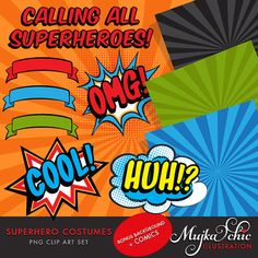 Superhero Costumes Clipart for Girls! This cute superhero set comes with all the wonderful characters dressed up as superheros. Set also includes 4 splash background saved 9×9 as well as comic speech bubbles & comic banners. Perfect for invitations, party printables and embroidery.  Contains 12 high quality Cliparts + 4 JPEG backgrounds Format: 300 DPI transparent PNG files. 300 dpi JPEG files for backgrounds Size: Most cliparts are saved around 6,7 inches tall  LICENSE: Personal Use…