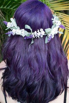 Cabelo roxo. Purple Hair. Flower crown Lavender http://heysilv.blogspot.com.br/
