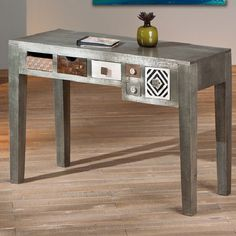 Destino Grey Wooden Console Table With 6 Drawers