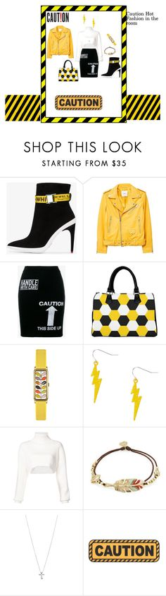 """Yellow Jacket Fashion"" by rebeccadavisblogger on Polyvore featuring Off-White, MANGO, Moschino, Orla Kiely, Alexandre Vauthier, Gas Bijoux and Tiffany & Co."