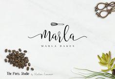 Hand Drawn Style Cupcake Bakery Logo Design with Monogram (sub-mark)