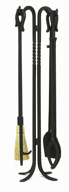 """Features:  -Set includes stand, poker, brush, shovel and tongs.  -Material: Wrought iron.  -Finish: Black powder coated.  Product Type: -Fireplace tool.  Material: -Iron. Dimensions: Size 38.5"""" H -  O"""