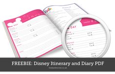 Free disney planning pdf printable that you can use as an itinerary or diary to plan your Disney World holiday.