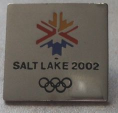 OLYMPIC GAMES PIN Salt Lake 2002 Olympics Square Snowflake Hat Pin Badge