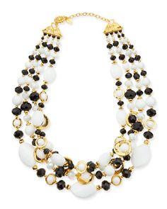Black & White Multi-Strand Necklace by Jose & Maria Barrera /665