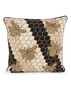 Shop Beekeeper Pillow from MacKenzie-Childs at Horchow, where you'll find new lower shipping on hundreds of home furnishings and gifts. Painted Chairs, Painted Furniture, Sunroom Furniture, Velvet Pillows, Throw Pillows, Mckenzie And Childs, I Love Bees, Bee Design, Bee Theme