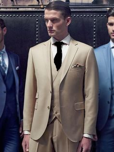 ba85eb81b8 Custom Made Two Button Beige Groom Tuxedos Groomsmen Mens Wedding Suits  Prom Bridegroom (Jacket+Pants+Vest+Tie)