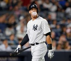 New York Yankees player Aaron Judge blows a bubble after striking out during the fifth inning against the Los Angeles Angels in New York on Thursday, June 22, 2017.
