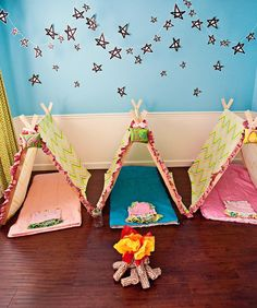 Décor: Throw the Ultimate Kid's Birthday Party -  Mini T-Pees for a slumber party. Tents go home as the favors.