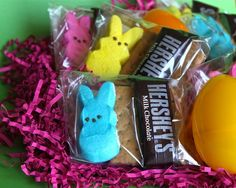 Easter Smores:...Graham Cracker, Hershey Bar & Marshmallow Peep Of Your Choice...Put In A Little Bag & Tie Up With A Pretty Ribbon...Cute Idea For Easter Baskets...Click On Picture...