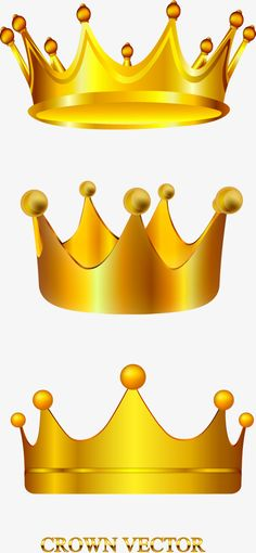 Vector hand painted gold crown PNG and Vector