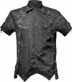 Gothic bondage shirt with bondage straps and skull print, by Queen of Darkness.