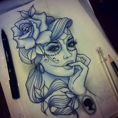 For Leigha #tattoo #design #art #ladyface #dayofthedead #neotraditional #uktattoo #plymouth #ladytattooers #igdaily