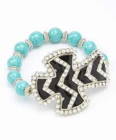 Take a look at the Black & Turquoise Cross Beaded Stretch Bracelet on #zulily today!
