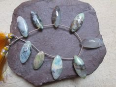 Full Strand  Genuine  Blue Peruvian Opal Marquise Briolettes  ,100% Natural(7704) At Factory Price on Etsy, $25.99