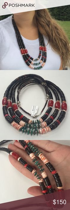 "Statement Necklace - Silver, Hieshi, Turqoise Three Strand .925 Sterling Silver. First Layer: 22"". Third Layer: 24"". Artist: Charlene Little. Stones Used: Coral, Heishi, and Turqoise. Condition: New with tags. Jewelry Necklaces"
