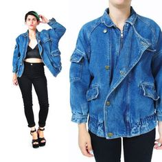 80s Denim Bomber Jacket 1980s Slouchy Jean Jacket Medium Wash Denim Quilted Jacket Hipster Womens Jean
