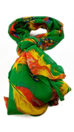 by Alyssa Lee  Feather Scarf, Green