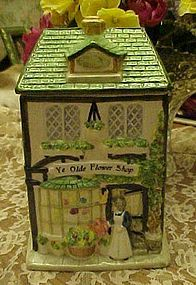 Ye Olde Flower Shop ceramic cookie jar offered by Sherrys Antiques* Collectibles* Frivolous Necessities, member of Cyberattic collectibles and antiques online mall. Antique Cookie Jars, Ceramic Cookie Jar, Antiques Online, Biscuit Cookies, Dog Houses, Glazed Ceramic, Canisters, Teapots, Tins