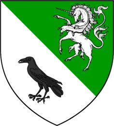 House Doggett is a noble house from the westerlands. According to semi-canon sources they blazon their arms with per bend a white unicorn on green, a black raven on Their words are not known. House Sigil, Game Of Thrones Houses, White Unicorn, Alternate History, Family Crest, Crests, Coat Of Arms, Middle Ages, Book 1