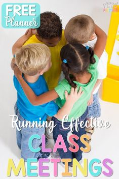 Help children build social responsibility skills in the classroom with class meetings. Read about the suggested classroom meeting schedule, social emotional topics for discussions, lesson ideas, activities for kids, SEL books, and grab a FREE meeting planner to get organized! #classroommanagement #morningmeeting #socialskills #classroommeeting #socialemotional