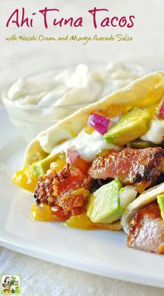 If you love fish tacos, you'll enjoy this healthy Ahi Tuna Tacos with Wasabi Cream and Mango Avocado Salsa recipe.