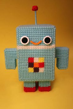 Plastic canvas robot, I want to try to do something like this with crochet!