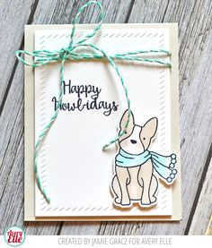 Jamie Gracz for Avery Elle Happy Howl-idays Clear Stamps & Dies Finished Frames Dies Silver Fox Note Cards Aquamarine Hemp Twine New Moon Dye Ink