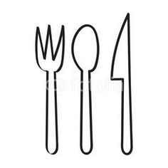 Fork , Spoon and Knife doodle hand draw icon for the meal with