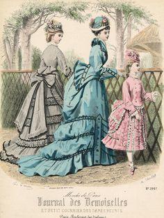 oldrags:  May fashions, 1874 France, Journal des Demoiselles et Petit Courrier des Dames Réunis