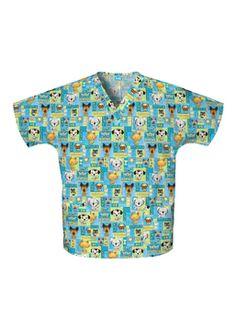 Scrub H.Q. by Cherokee Women's Discount V-Neck 2-Pocket Tunic Style Print Scrub Top - Print name: Pet Shop Boys - 100% Cotton #Scrubs   allheart.com