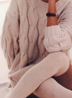 Oversized cable knit sweater with soft pink leggings. Lovely.