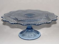 ANTIQUE VICTORIAN ~ EARLY AMERICAN PRESSED GLASS Eapg ~ BLUE CAKE STAND SERVER
