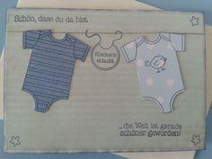 Doppelkarte Karte Grußkarte Glückwunsch - zur Geburt - Junge, mit Stampin up