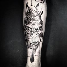 Creative Gorilla Fish Tattoo